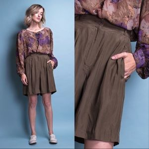 Vintage 80s olive green silk trouser shorts